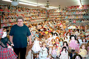 Virginia Arnett and a few of her dolls